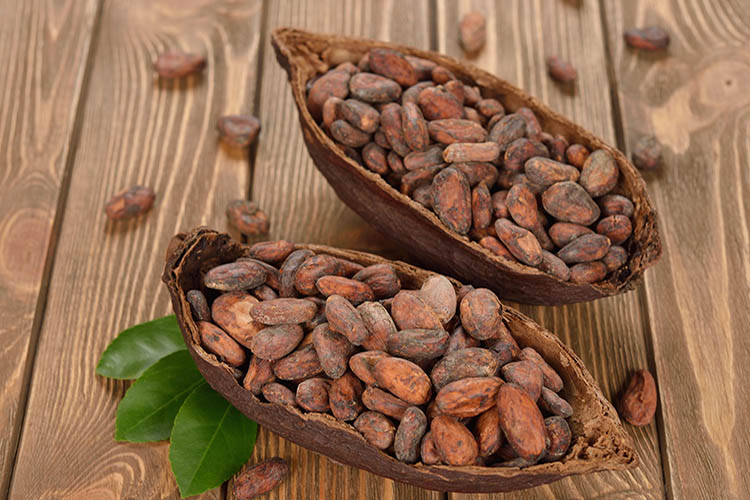 36213723 - natural cocoa beans on brown background