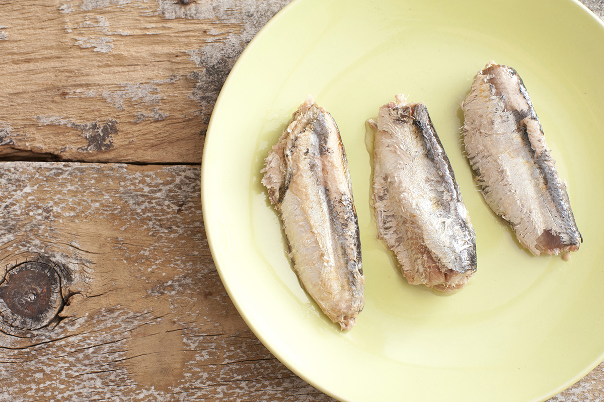 Three freshly unpacked oily sardines with bones on green plate over weathered wooden table